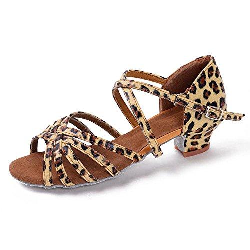 LEIT Chaussures Bas Bal de 12 Danse Danse YFF Femmes Filles Enfants Enfants Talons 5 Mesdames pour Latine Tango Les Leopard trpwzrfq