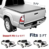 Leader Accessories Tri-Fold 5ft Soft UV Protect Tonneau Truck Bed Cover Compatible 2016 2017 2018 TOYOTA Tacoma Styleside Bed
