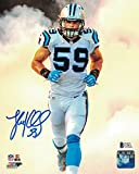 Luke Kuechly Autographed Carolina Panthers 8x10 Photo Smoke BEC