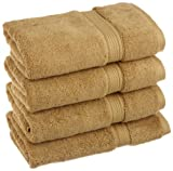 Superior 900 GSM Luxury Bathroom Hand Towels, Made of 100% Premium Long-Staple Combed Cotton, Set of 4 Hotel & Spa Quality Hand Towels - Toast, 20'' x 30'' each