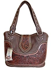 MONTANA WEST brand western style ladies purse with concealed handgun pocket on back. Made with high quality PU leather and tooled genuine leather, a center flap cover over to front of purse, decorated with silver studs. Features: Top zipper c...
