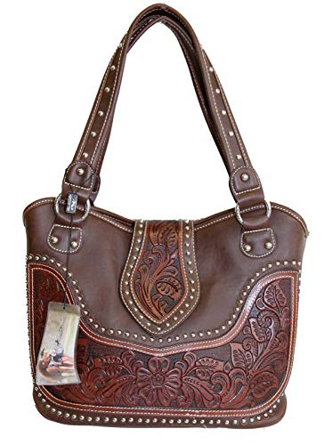 (Montana West Ladies Concealed Gun Handbag Tooled Genuine Leather Dark Brown)