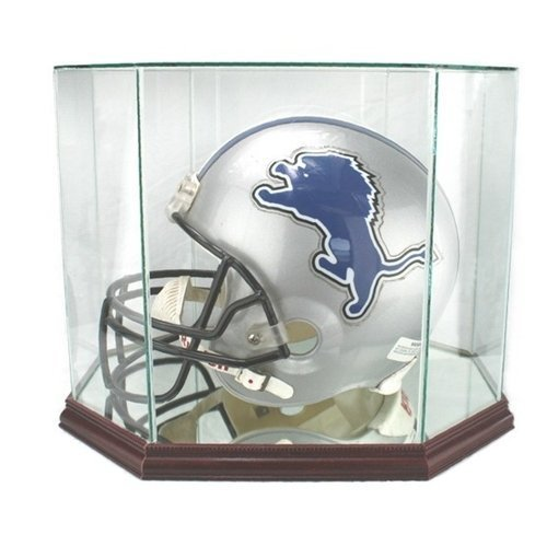 Full Size Football Helmet Glass Display Case with Octagon Wood Base