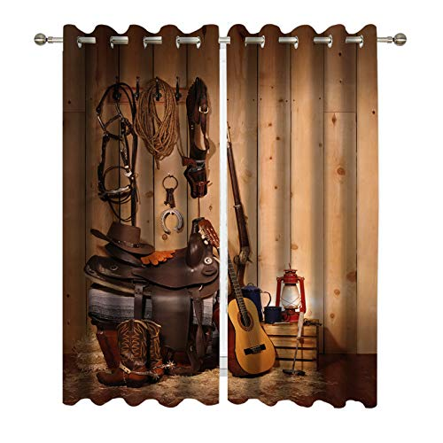 (DUISE Blackout Window Curtains, Still Life of Western Cowboy Paraphernalia in The Pack Room of a Barn, Grommet Window Treatment Light Blocking for Living Room Dining Room Bedroom Decor)