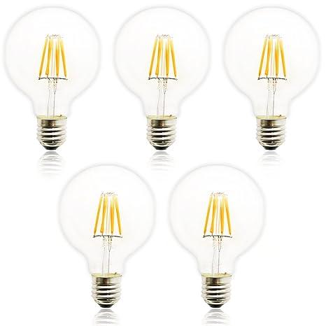5 x LED Retro Edison Bombillas de espejo Pera, G80 E27 8 W AC 220