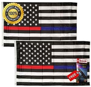 MOON KNIVES - Paquete de 2 unidades de 3 x 5 pies de bandera de policía de EMS de fuego, bandera de Estados Unidos fina rojo y azul línea premium color vivo y UV desvanecido eBOOK por MOON KNIVES