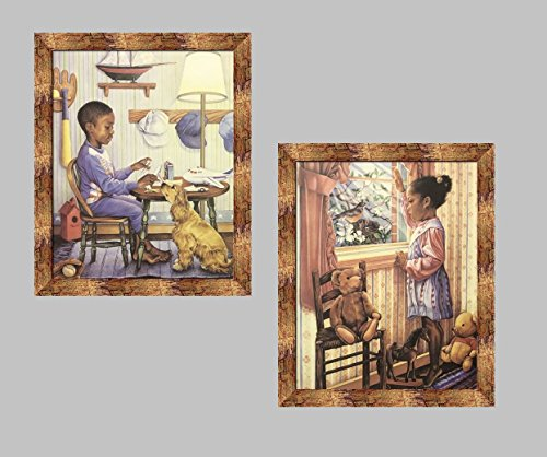 US Art Bronze Framed THE MODEL MAKER & VIEW FROM THE WINDOW; Two 16x20 Art Print Poster (AFRICAN AMERICAN BLACK ART/BOY/KIDS) Artist BETZ GREEN (2- S - ()