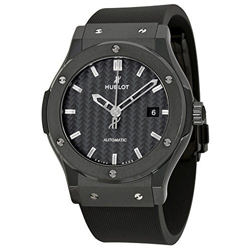 Hublot Classic Fusion Black Carbon Fiber Dial Automatic Black Rubber Mens Watch