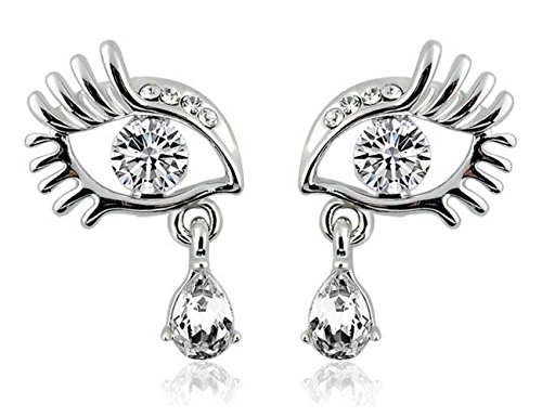 Luck Wang Woman's Fashion Personality Unique Eye LashesTemperament Diamond Earrings(Sliver) (Major Egyptian Gods)