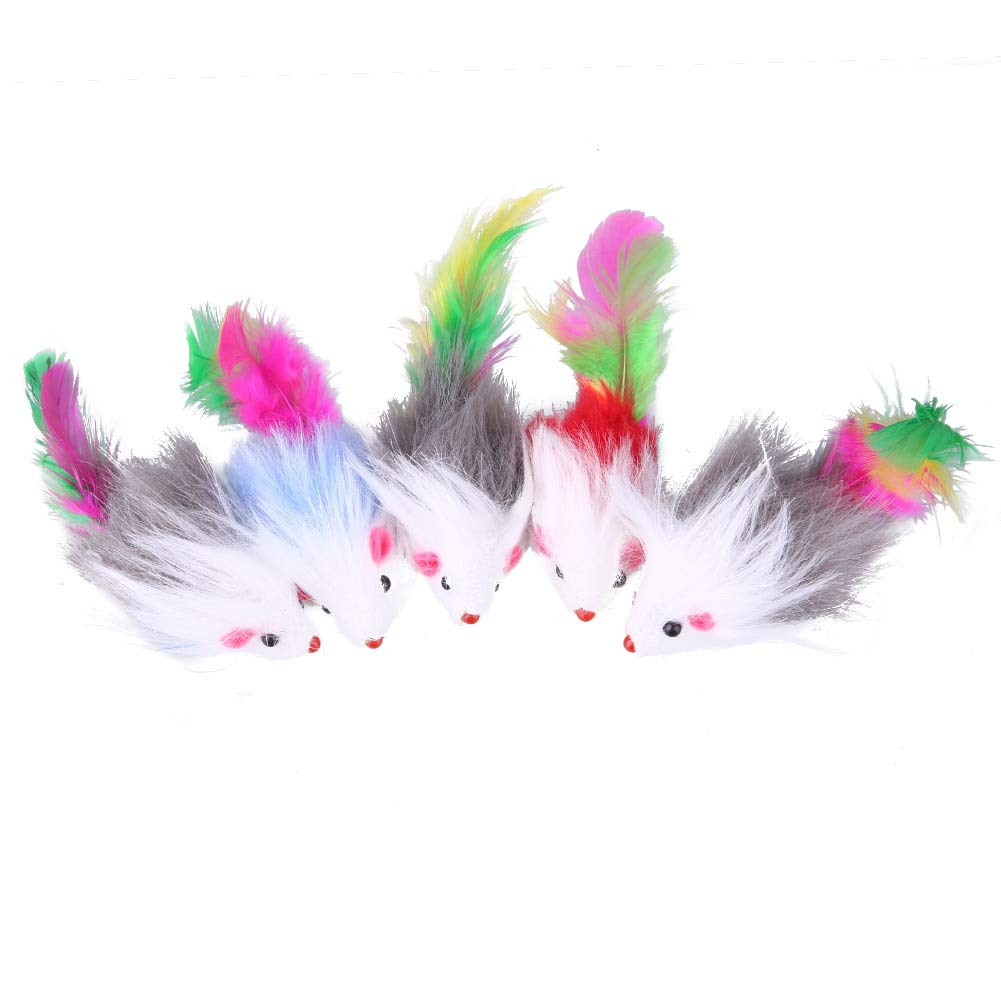 LuccLukk 5 Pcs Fleece False Mouse 10 cm Cat Toys Colorful Feather Funny Playing Toys for Cats Kitten