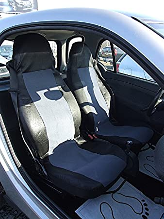 2 Front Seat Covers Universal Cover Black Grey Compatible With All Smart 450 451