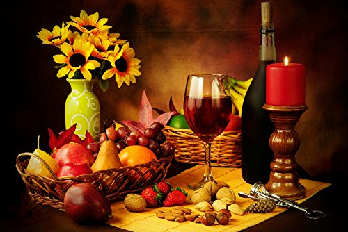 Tomorrow sunny wine candle fruit basket still life Decoration Poster Art Wall Pictures for Living Room Canvas fabric cloth Print ()