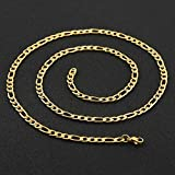 HZMAN Men Women 24k Real Gold Plated Figaro Chain