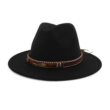 508bc37f0a1ed Vim Tree Men Women Ethnic Felt Fedora Hat Wide Brim Panama Hats with Band  Black M