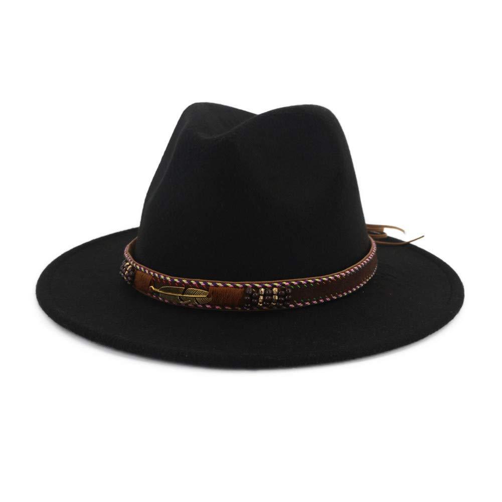 d24597d15bad6 Details about Vim Tree Men Women Ethnic Felt Fedora Hat Wide Brim Panama  Hats with Band Black