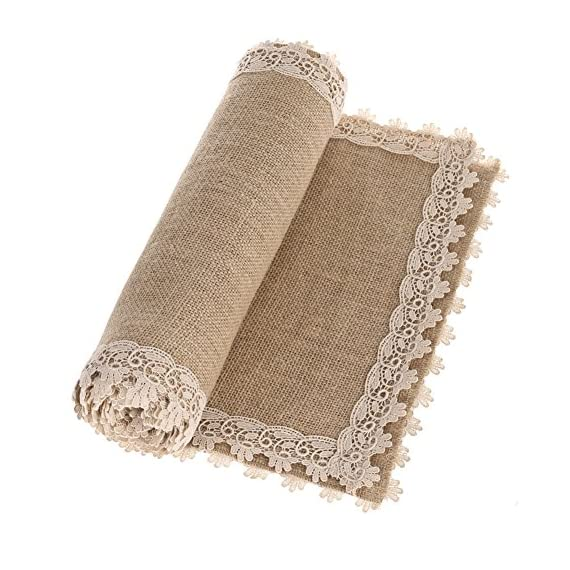 """Ling's moment Burlap Table Runners 12 x 60 Inches with Lace Hem, Rustic Country Barn Wedding Party Decoration Farmhouse… - It is Vintage and will give a shabby chic touch to your wedding table, shower, party, farmhouse or any occasion. Material: natural khaki jute weave + cream lace Measurements: approx 12"""" width x 60"""" length - table-runners, kitchen-dining-room-table-linens, kitchen-dining-room - 51R57VS3IAL. SS570  -"""