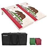 GoSports Regulation Size Solid Wood Cornhole Set - Choose American Flag, California Flag, Texas Flag - Includes Two 4' x 2' Boards, 8 Bean Bags, Carrying Case and Game Rules