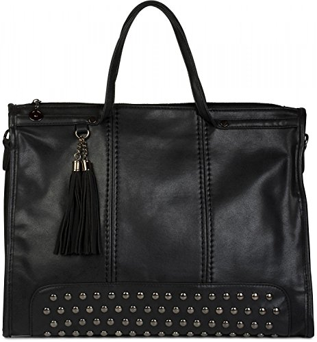 a Beige con canvas nappe colore styleBREAKER donna shopping con da Nero borsa a manici mano borsa e per borsa 02012136 tracolla borchie lo borsa qwwSBca