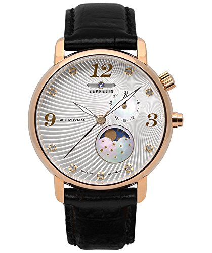 Zeppelin LUNA Ladies watch Swiss Quartz 35mm case Moon Phase Silv dial 7639-4