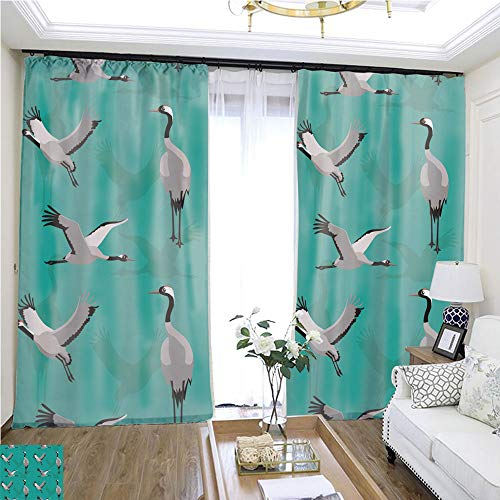 Crane Multi Bracket - Fashion Curtain Common Crane Background Seamless Wallpaper W96 x L84 Children's Room Loop top Curtain Highprecision Curtains for bedrooms Living Rooms Kitchens etc.