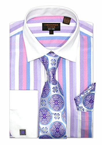 (Christopher Tanner Men's Regular Fit Dress Shirts with Tie & Hankerchief Cufflinks Combo Striped Pattern Multi Color Color Lilac Size 17.5
