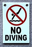 1-Pc Likely Unique No Diving Symbol Signs Warning Declare Outdoor Message Board Peeing Pool Poster Lifeguard On Duty Swimming Sign Decal Swim Post At Your Own Risk Pools Decor Size 8''x12'' w/ Grommets