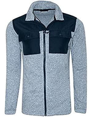 Men's False Pass Knit Full Zip Fleece Lined Jacket