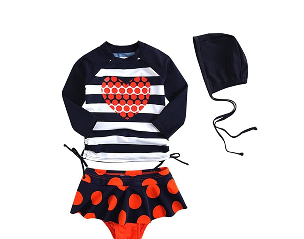 Baby Girls Red Heart Rash Vest long sleeve upf 50+ 3 Piece Bathing Suit Hat Batedan B-Bkni-girls12