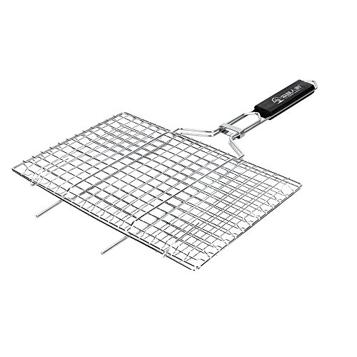 Noubi tech Portable BBQ Barbeque Grilling Basket Stainless Steel Non Stick Grill Basket for Fish Vegetables Steak - BBQ Grill Mat