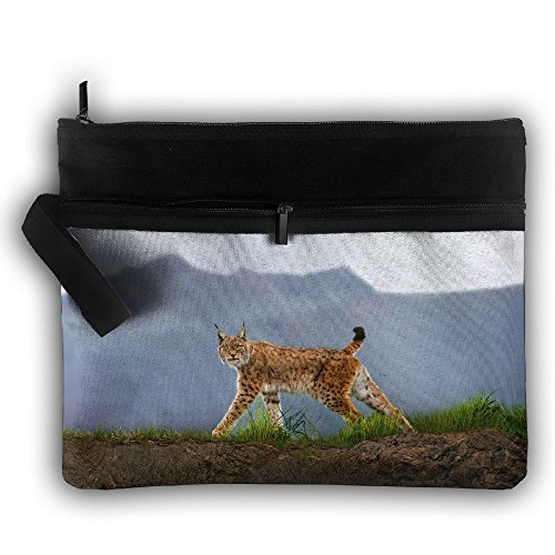 Animals Lynx Zipper Printing Waterproof Fabric Cosmetic Bags Portable Travel Toiletry Pouch Makeup Organizer Clutch Bag - Waterproof Lynx
