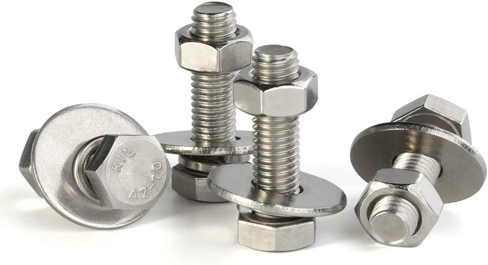 8 Sets M6-1.00 x 70MM Hex Head Screws Bolts Fully Threaded Flat /& Lock Washers Plain Finish Stainless Steel 18-8 Nuts