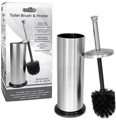 (Estilo Stainless Steel Matte Finish Toilet Brush Holder with Black)