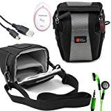 DURAGADGET Shock-Absorbing, Water-Resistant Case in Cross-Body Bag Style Compatible with the AngelSounds Fetal Doppler Baby Heart Monitor - Includes USB Data Cable and LED Green Flashing Earphones