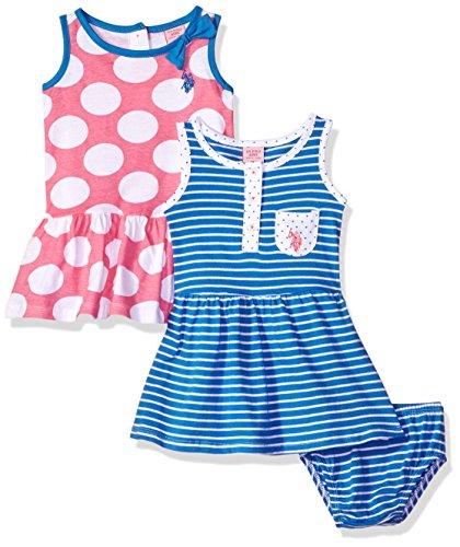 Dot Dress Clothes - U.S. Polo Assn. Baby Girls Multi Pack Dress, Dress Pack Stripes Dots Regatta, 6-9 Months