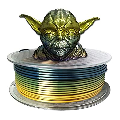 Silk Rainbow Multicolor PLA 3D Printer Filamentt 3mm(2.85mm) 1KG Multi Color Printing Material Gradually Canging Color PLA Rainbow Mulitcolor Multicolored Metallic Color Gradient Filament CC3D