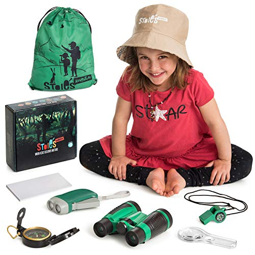STOIES Kids Explorer Kit for Camping and Adventure - 8pcs Set - Outdoor Exploration Set for Boys and Girls - Binoculars, Magnifying Glass, Flashlight, Whistle, Hat, Compass, Backpack - Great Gift