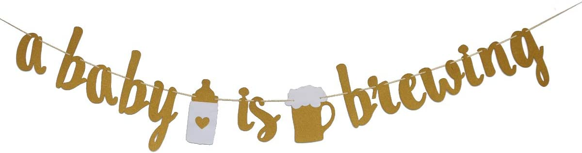 MAGQOO A Baby is Brewing Banner Baby Shower Baby Sprinkle Banner Gender Reveal Party Decoration Diaper Party Decor