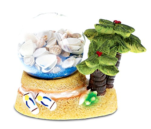 CoTa Global Resin Palm Trees Miniature with Seashells in a Bottle, 3.8 Inch Intricate & Meticulous Art Figurine Decorative Tabletop Sculpture Centerpiece Snow Globe Tropical Beach Themed Home Décor