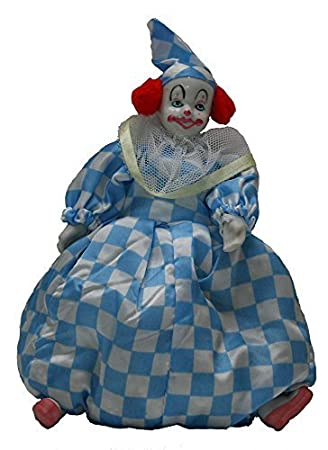 Clown Porcelain Doll 9 Inches Blue, Can Be Sitting by Joiner Co