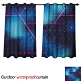 Anshesix Navy and Blush Outdoor Curtains for Patio Sheer Eighties Inspired Retrofuturistic Triangles Virtual Reality Sci Fi W96 x L72(245cm x 183cm)
