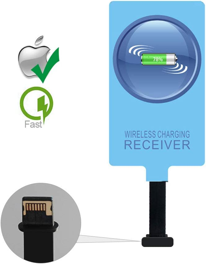 IVY QI Wireless Charging Receiver Adapter with Fast&Smart Microchip Technology for iPhone 5 / 5S / 5C / SE / 6S / 6S Plus / 7/7 Plus/iPad