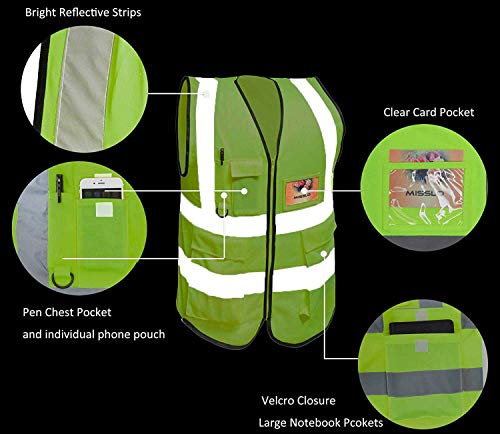 Large Neon Yellow Misslo 5 Pockets High Visibility Zipper Front Breathable Safety Vest with Reflective Strips