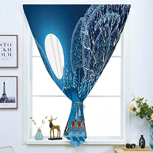 Blackout Curtain Free Punching Magic Stickers Window Curtain,Christmas Decorations,Santa in Sleigh a Holy Night with Full Moon Snowy Winter Xmas Theme,Navy Blue,for Living Room Bedroom, study, kitchen by iPrint