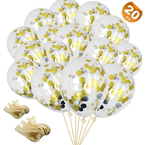 (EuTengHao 20 Pieces Golden&Silver Confetti Balloons Party Balloons Filled with Gold Mylar Foil Dot Confetti, Beautiful Twinkle Balloons for Wedding Party Birthday Dancing Party (12 inches))