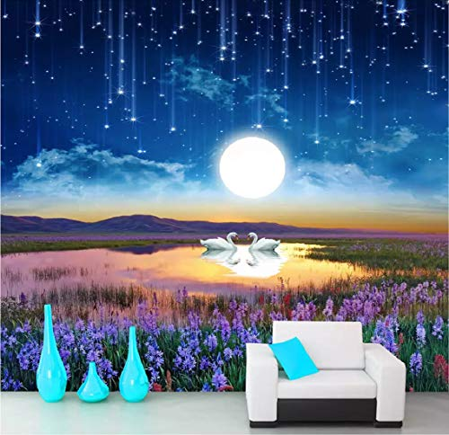 3D Mural Wallpaper Modern Photo Dreamy Night Scene Oil Painting Custom Large Wallpaper 3D Effect Giant Murals Wall Paper (Dreamy Nights Wall Border)