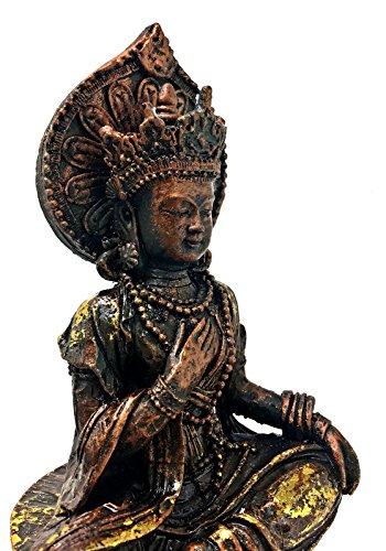 (Bellaa 20225 Quan Yin, Kwan Yin, Kuanyin Buddha Antique Style Sitting on Lion Rare to Find Manjusri)