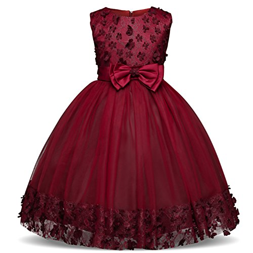 TTYAOVO Girl Princess Flower Bowknot Lace Baby Girls Wedding Christmas Party Dress 7-8 Years Red (Size 150) -