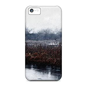 Rugged Skin Case Cover For Iphone 5c- Eco-friendly Packaging(rainy Street)