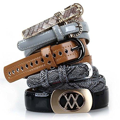 [BMC Womens 5pc Mix Color Faux Leather Fashion Statement Skinny Belts Bundle-Set 6, Dangerous Diva] (Belt Set)