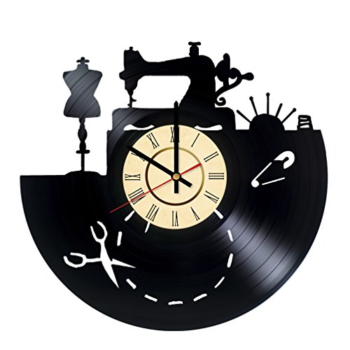 Singer Sewing Machine Cabinets (Sewing Machine Art Decor Vinyl Record Wall Clock - gift idea for girls boys sister and brother - home & office bedroom nursery room wall decor - customize your clock)